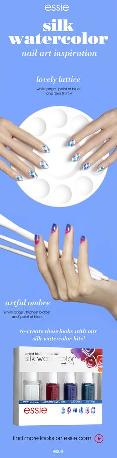 turn your nails into little masterpieces with essie Silk Watercolor collection -- get a little nail inspiration and recreate this 'lovely lattice' nail art look.