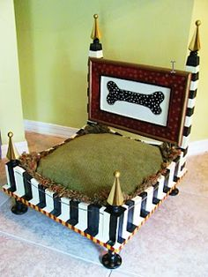 End Table Upcycled into a Whimsical Dog Bed, like the idea of adding legs and cutting the original table legs