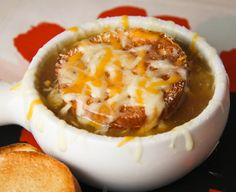 Four-cheese french onion soup....<3