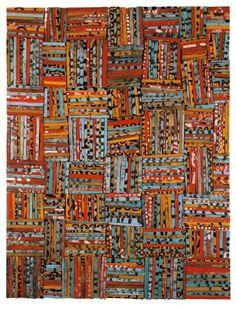 "Rosalie Gascoigne ""All that Jazz"" 1989, sawn/split soft drink crates on ply-board, 131x100cm"