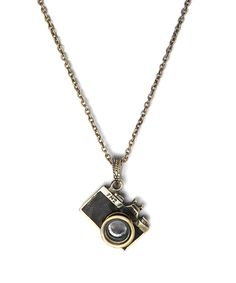 Antique Goldtone & Crystal Camera Pendant Necklace