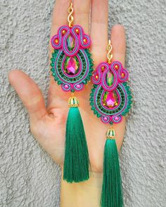 Image may contain: jewelry Jewelry Design Earrings, Bead Jewellery, Beaded Earrings, Jewelery, Tatting Jewelry, Soutache Jewelry, Textile Jewelry, Fabric Jewelry, Handmade Beaded Jewelry