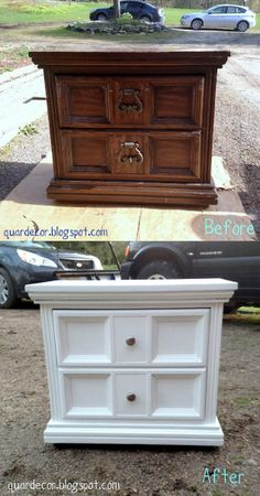 Refreshed White Night Stand- what a change! Love repurposing a good piece of furniture!