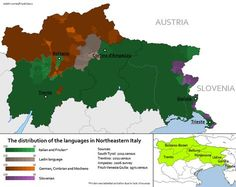 The distribution of the languages in Northeastern Italy.