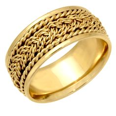Shop for Yellow Gold Braided Design Comfort Fit Men's Wedding Bands. Get free delivery On EVERYTHING* Overstock - Your Online Jewelry Shop! Wide Wedding Bands, Wedding Men, Wedding Rings, Gold Band Ring, Gold Bands, Band Rings, Braid Designs, Titanium Jewelry, Engagement Rings For Men