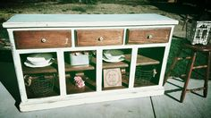 Rustic farmhouse coffee bar buffet . Follow me on IG @diy.vintage.luv