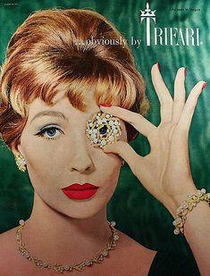 Circa 1960 Trifari jewelry ad. #vintage #1950s #1960s #jewelry