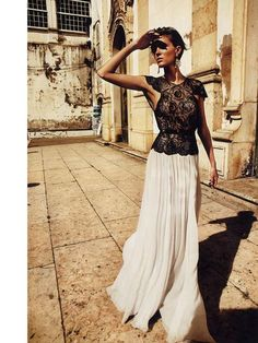 white maxi skirt and black lace top