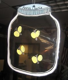 First Grade Wow: area,,,,cut out jar shape, laminated and made glow in the dark fireflies (w silver bodies)