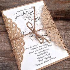 Rustic Wedding InvitationBurlap Wedding by CCPrintsbyTabitha