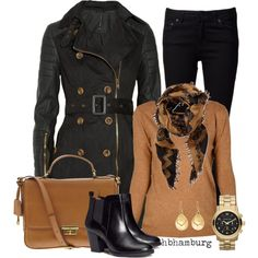 """No. 360 - Black trench"" by hbhamburg on Polyvore"