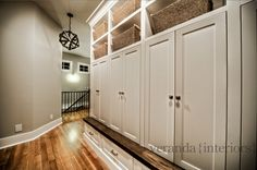 Mud Room with built-in lockers contemporary entry - leave section open for sitting