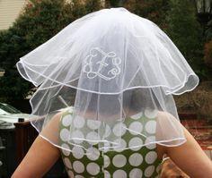 monogrammed bridal shower veil