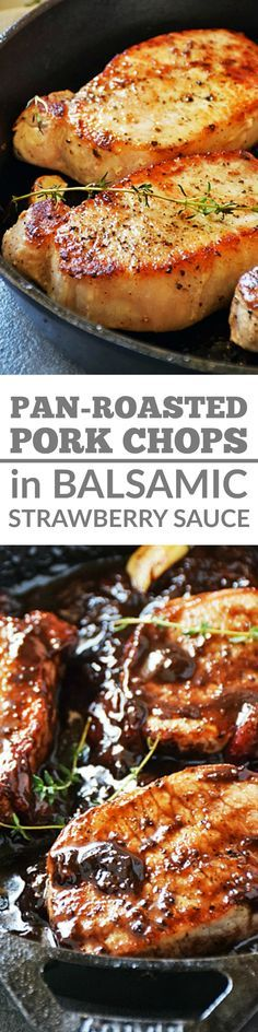 Pork Chops with Balsamic-Strawberry Sauce is a deliciously easy dinner that's on the table in about 30 minutes from start to finish! I love using fresh ingredients to maximize flavor in easy recipes. #SundaySupper #FLStrawberry @Flastrawberries