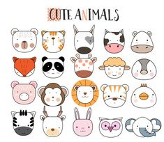 Discover thousands of Premium vectors available in AI and EPS formats Doodle Art, Doodle Drawings, Easy Drawings, Animal Drawings, Drawing For Kids, Art For Kids, Tier Doodles, Animal Doodles, Animal Faces