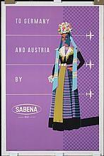 Original 1950s Sabena Airlines Travel Poster GERMANY