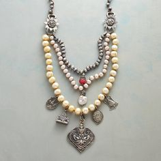 """TRUE ROMANCE NECKLACE--Champagne, blush and peacock pearls romance in this necklace accented with white bronze charms and sterling silver beads. White bronze hook. 24"""" to 26""""L."""