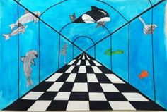 My Messy Art Room: 5th grade one point perspective under the sea: