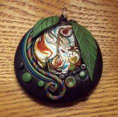 Dichroic Glass and Polymer Clay Pendant by MandarinMoon on deviantART