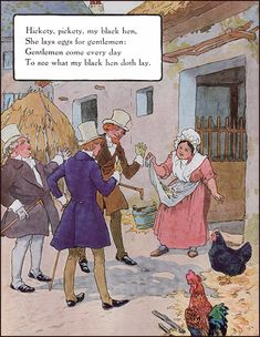 Frederick Richardson, Mother Goose, illustrator, Hikety pickety my black hen Nursery Rhymes Lyrics, Old Nursery Rhymes, Nursery Book, Nursery Rymes, Kids Poems, Preschool Poems, Game Day Quotes, Poetry For Kids, Pomes