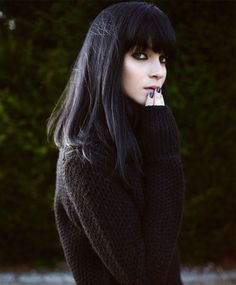 Full Fringe Long Winter Hairstyles for Women 2015 | Full Dose Blunt Haircut, Fringe Haircut, Morticia Addams, Gothic Dress, Gothic Outfits, Gothic Clothing Stores, Blunt Fringe, La Famille Addams, Black Hair