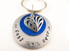 Hand stamped mom keychain by jewelryandmorebykat on Etsy