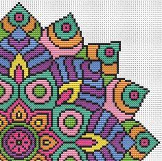 Mandala Cross Stitch Kit - Colourful Geometric Modern Cross Stitch DMC Threads