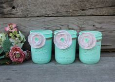 Trio of Mint Green Mason Jars - Wide-Mouthed Jar - Mint Decor or Wedding - Mint and Pink - Fabric Flowers -Vintage Jars - Painted Mason Jar on Etsy, $30.00