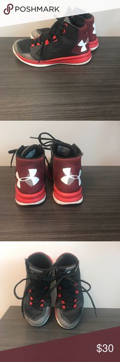 Under Armour boys basketball hi top sz 1 Under Armour boys basketball shoe. Size 1. Excellent condition. Red grey white and black Under Armour Shoes Sneakers