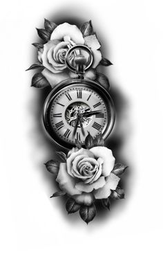 Pocket Watch Tattoo Design, Pocket Watch Tattoos, Clock Tattoo Design, Floral Tattoo Design, Flower Tattoo Designs, Rose Tattoos For Men, Red Ink Tattoos, Arm Tattoos For Guys, Face Tattoos