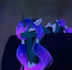 Princess Luna as a wolf pony