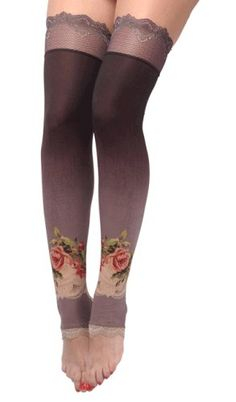 Gradient Black and Gray Michal Negron Pantyhose Decorated with Victorian Inspired Roses and Lace Trim Edge; Michal Negrin, Silk Stockings, Boho Gypsy, Bohemian, Tight Leggings, Thigh Highs, Black And Grey, Gray, Boho Chic