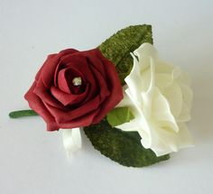 Burgundy and Ivory Corsage