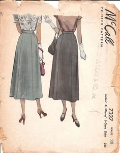 Hey, I found this really awesome Etsy listing at https://www.etsy.com/listing/186182196/1940s-midi-skirt-pattern-vintage-mccall