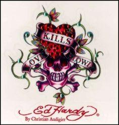 ED HARDY LOVE KILLS SLOWLY DECAL STICKER CLING BLINGS AUTO