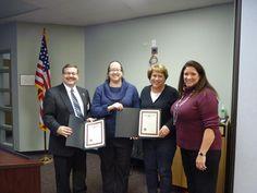 D47 Board Pres Jeff Mason and Supt Kathy Hinz honored Kristen Leidy&Debbie Rokusek for School Psych Awareness Week