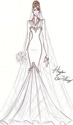 Hayden Williams for Princess Kate - An elegant & feminine Couture bridal gown perfect for a Princess! Designed by Hayden Williams. Fashion Art, Fashion Beauty, Vintage Fashion, Wedding Dress Sketches, Dress Illustration, Hayden Williams, Dress Drawing, Croquis Drawing, Bridal Gowns