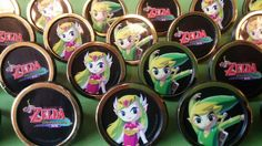 You get 24 Zelda themed rings that work great as cupcake toppers, which kids love since they can wear the ring home as a prize. They are black