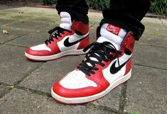 ee4440345e87 eBay  Sponsored Nike Air Jordan 1 Retro High OG White Black-Varsity Red