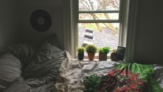 aesthetic bedroom ideas // twin bed by window// plants Bedroom Layouts, Room Ideas Bedroom, Bedroom Loft, Bedroom Inspo, Bedroom Colors, Neutral Bedrooms, Trendy Bedroom, Bed Against Window, Black Gold Decor