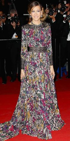 Sarah Jessica Parker's 50 Most Memorable Looks Ever | Sarah Jessica Parker took our breath away in a straight-from-the-runway floral design from Elie Saab, 2011