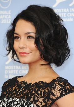 Vanessa Hudgens Latest Hairstyle: Short Black Wavy Haircut