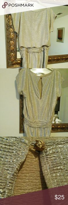 BCBG dazzling foil tunic top Hugs your hips. It has a fun golden fox detail on the back closing the open slit. Perfect with leggings and cute booties. Will fit a size 2/4. EUC! No defects. BCBG Tops Tunics