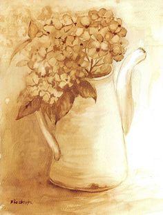 Hortensja - watercolour painted with coffee - Maria Roszkowska Watercolours, Watercolour Painting, Kaffe, Creta, Coffee Painting, Painting Workshop, Coffee Art, Pretty Art, Diy Art