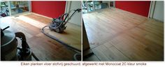 Before and after of Monocoat clear smoke on Pine.  www.postmusparket.nl