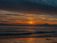 ocean,waves,sunset,mountains,volcano,alaska