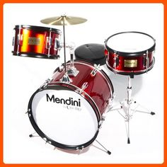 Mendini by Cecilio 16 inch 3-Piece Kids / Junior Drum Set with Adjustable Throne, Cymbal, Pedal & Drumsticks, Metallic Bright Red, MJDS-3-BR - Fun stuff and gift ideas (*Amazon Partner-Link)