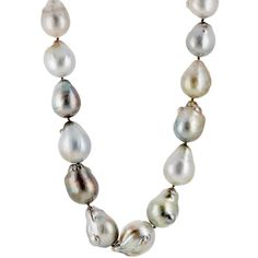 Linda Lee Johnson Women's Baroque Pearl Necklace ($42,700) ❤ liked on Polyvore featuring jewelry, necklaces, colorless, hook necklace, baroque jewelry, clear crystal jewelry, clear necklace and clear jewelry