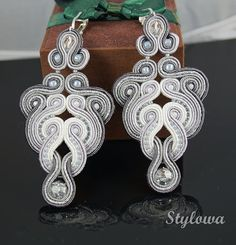Soutache earrings with Swarovski crystals by StylowaSoutache