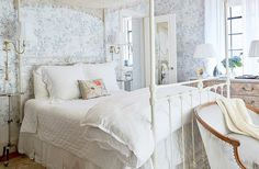 Mix It Up: House Beautiful - Interesting, chic - and unique! Don't be afraid to try something new in your home spaces. It's surprising how different styles, objects, art and furnishin Country Bedding Sets, French Country Bedding, French Linens, English Cottage Style, Steel Bed, Modern Farmhouse Bedroom, White Bedroom, Master Bedroom, Bedroom Eyes